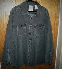 Levi's Denim Button Front Shirt Red Tab Long Sleeve Black Gray Mens 2XL XXL Nice