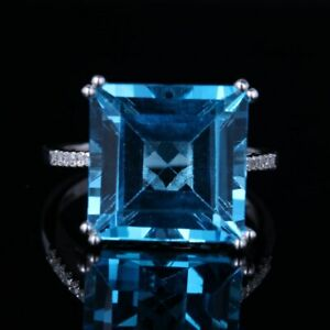 Swiss Blue Topaz Natural Diamonds Silver Sterling 925 Gemstones Jewelry Ring