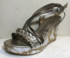 Viggos Women Shoes Sizes 8 Gold Cooper Wedges Platform Sandal Striped Pumps Heel
