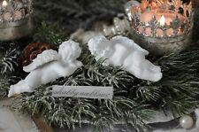 Engel Engelfiguren Kantensitzer Paar Schutzengel Shabby Chic Weihnachten