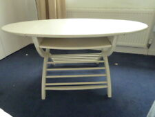 VINTAGE IKEA WHITE OVAL COFFEE TABLE [WITH PULL OUT SIDES]~TWO SHELVES~
