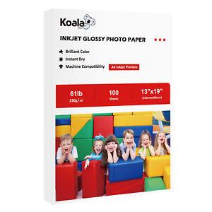 Koala 100 Sheets 13x19 Premium Glossy 230g Inkjet Printer Photo Paper Canon Card