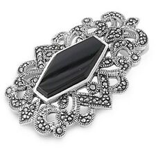 Silver Pendant with Marcasite Pendant Height 41 mm Stone Black Onyx fashion 925