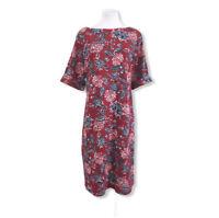 Karen Scott NWT Women's Plus Size 2X Knit Dress Floral Red White Blue Cuffed S/S