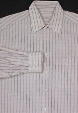 ERMENEGILDO ZEGNA  White w/ Brown/Blue Check Cotton Dress Shirt (39) 15.5-32