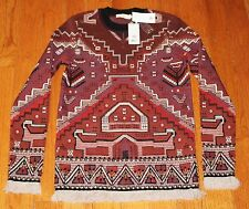 New $695 TORY BURCH Red Tapestry Jacquard Sweater XS X-SMALL Embellished Tunic
