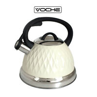 VOCHE CREAM 3 LITRE STEEL DIAMOND WHISTLING KETTLE GAS ELECTRIC INDUCTION