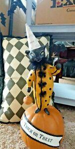 Nicole Sayre Black Cat witch on Pumpkin LARGE ESC TRADING RARE