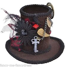 Ladies Steampunk Victorian Mad Hatter Mini Hat Fancy Dress Party Costume Outfit