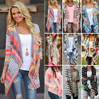 Womens Casual Winter Autumn Outwear Cardigan Stripes Sweater Knitwear Thin Coat
