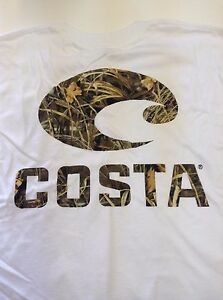New Authentic Costa Del Mar Camo Logo Short Sleeve WHITE T-Shirt - Small