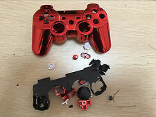 Red Replacement Chrome Housing Shell Case(scratch)for PS3 Controller Dualshock 3