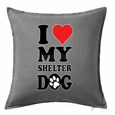 I Love Shelter Dog Printed Animal Print Cotton Cushion Pillow Cover 50x50 Home