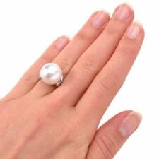 Large Round South Sea 14 MM Pearls With Clear White Accents CZ Fine Simple Ring