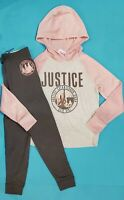 """JUSTICE """"CITY GIRL'S"""" LOGO LEGGINGS & HOODIE OUTFIT  SIZE 10 NWT"""