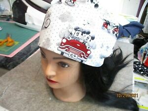 nursing scrub hat fuller cut, can hold ponytail, side buttons for mask or combo