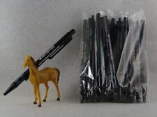 Misprint Pens Clip On Retractable Nice Writing BLACK SHOULDER  ---  LOT of 25