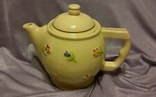 VTG Genuine Fraunfelter Thermo-Proof Ware Stoneware yellow Pot FLOWER PATTERN