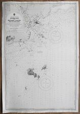 1914 APPROACHES TO PANAMA CANAL VINTAGE ADMIRALTY CHART MAP
