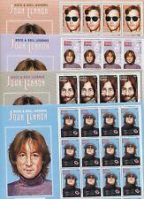 JOHN LENNON Commemorative Set x4 Sheet of 16 #1959 -62 MNH - Antigua E27