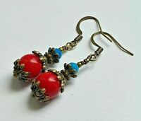 Red Coral and Blue Turquoise  Gemstones Antique Bronze Bohemian Earrings