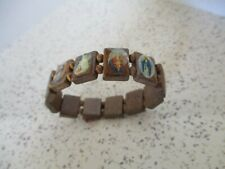 VINTAGE, BRACELET, WOODEN, WITH 12 RELIGIOUS ICONS, STRETCH, MADE IN MEXICO