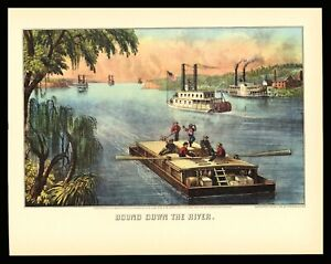 Currier & Ives Art Print - Bound Down The River