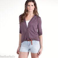 La Redoute tab sleeve PLUM BROWN tunic top shirt style blouse UK 4 6 EU 32 34