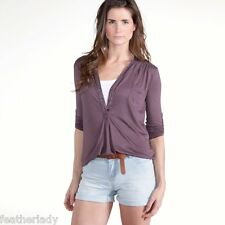 La Redoute womans tab sleeve PLUM BROWN tunic top blouse UK 4 6 EU 32 34 NEW
