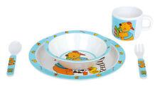 Kindergeschirr 5 teile - Geschirr Kinder Kunstoff Teller Besteck Baby Tier Motiv