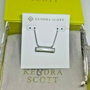 Kendra Scott Leanor Necklace Silver- Ivory Mother of Pearl w/Bag & Box $70