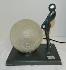 Art Deco Frankart Coy Nude Girl Mounted On Greist Lamp Base With Crackle Globe