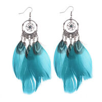 Bohemian Ethnic Style Women Feather Earrings  Pattern Hollow Party Gift Jewelry