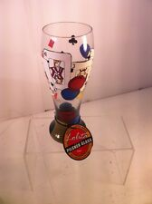 LOLITA POKER GLASS--PILSNER--HAND PAINTED--CARDS / CHIPS---FREE SHIP--NEW