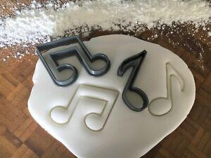 Music Quaver Note Fondant / Icing Cutter - Set of 2