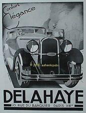 PUBLICITE DELAHAYE AUTOMOBILE ELEGANCE SIGNE RONDEAU DE 1933 FRENCH AD PUB RARE