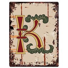 PP0519 Alphabet Medieval Initial Letter K Chic Sign Bar Shop Store Home Decor
