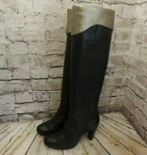 Womens Unisa Black & Gold Leather High Heel Over The Knee Boots UK 6 EUR 39
