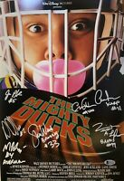 The Mighty Ducks 12x18 Autographed Photo Cast Signed by 7 with Beckett COA