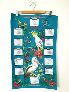 Retro cotton tea towel, Birds of Australia, 1970
