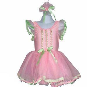 Revolution Child Dance SZ SC Pink Green Tutu Dress Hair Comb Competition Lot 2