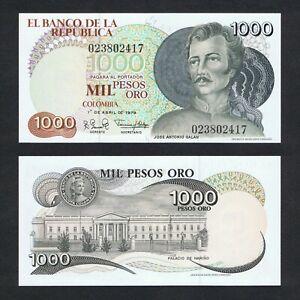 1979 COLOMBIA 1,000 1000 PESOS P-421a UNC> > > >JOSE ANTONIO GALAN NARINO PALACE