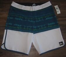 NEW QUIKSILVER REBUFF 20 SWIM TRUNKS BOARD SHORTS SZ 32 SURF $62 WHITE BLUE GREE