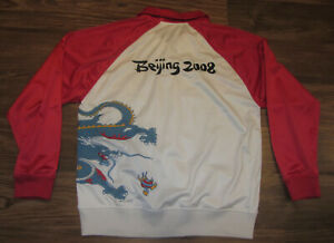Vintage Beijing 2008 Olympics Mens Full-Zip Track Jacket, Sewn-on, Size M, EUC