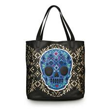 Loungefly Black Purse Blue Sugar Skull Tote Bag Faux Leather Handbag