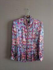 Vtg The Silk Farm Korea Women's 8 Silk Metallic Blouse Button Up Top Multicolor