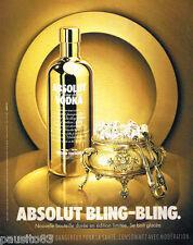 PUBLICITE ADVERTISING 085  2006  ABSOLUT VODKA nouvelle bouteille BLING-BLING