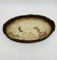 Antique Basket Serving Tray With Buterflies Dried Flowers And A Beetle. Handles