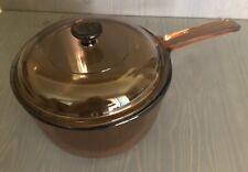 Corning Vision Ware Glass Sauce Pan Pot 1.5 Liter w/ Lid Amber Cookware Usa