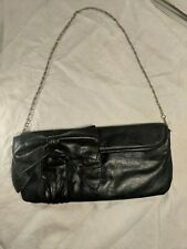 Fashionstatement.com Black Leather Bow Purse Chain Strap Evening Cocktail clutch